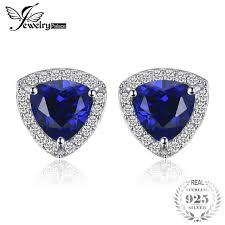 blue stud earrings jewelrypalace triangle 2 3ct created blue sapphire stud earrings