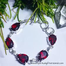 red crystal bracelet images Red garnet root chakra crystal gemstone bracelet sterling silver jpg