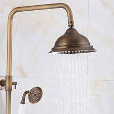 Brass Shower Faucets Rainfall Massage System Brass Finish Bathroom Rainshower Set