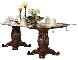 48 inch glass table top glass top pedestal table acme vendome double dining with appealing