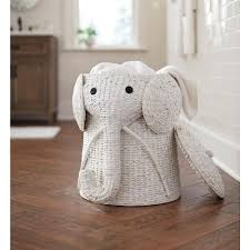 home decorators elephant her wicker laundry basket nursery toys white