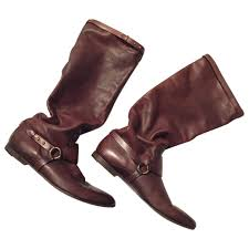 brown leather gucci boots vestiaire collective
