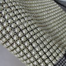 mesh ribbon wholesale wholesale 24 rows metal set banding mesh pearl ribbon