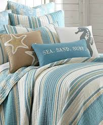 Bedding Quilt Sets Blue Striped Bedding Quilt Set With Seahorse Motif