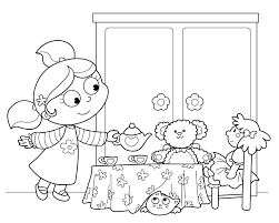 american tea party ideas kids tea party birthday coloring