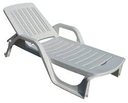 Pool Chairs Deck Chair Made Of Plastic With Armrests Adjustable Backrest White