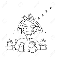princess crying and many prince frogs coloring page outline