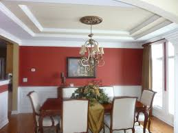 astounding dining room with red wall plus white wainscoting decor