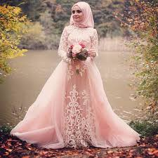 Pink Wedding Dresses With Sleeves Romantic Tulle Long Sleeve Muslim Light Pink Wedding Dresses 2016