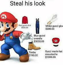 Gucci Hat Meme - steal his look red gucci shirt white gucci glow 50000 20000 blue