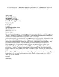 elementary school cover letter letter sle teaching and on elementary school
