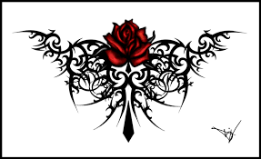 collection of 25 cross roses vines design