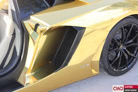 lamborghini custom gold miami car wraps