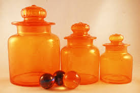 colored glass kitchen canisters vintage retro orange glass kitchen or bar canister set retro