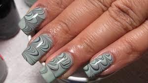 mint green black u0026 grey water marble nail art tutorial water