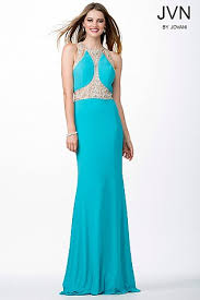 sheer and crystal embellished neckline sleeveless jersey prom dress
