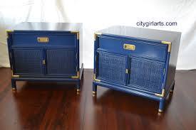 Henredon Bedroom Furniture Used Henredon Campaign Dresser And Nightstands Sapphire Blue Vintage