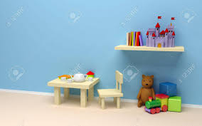 table for children s room children s room with toys a blank wall a table with coffee stock