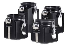 kitchen canisters set of 4 anchor home collection 4 canisters black and white checkered