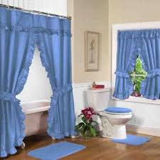 Fabric Shower Curtains With Matching Window Curtains Blue Fabric Double Swag Shower Curtain With Matching Window Shower