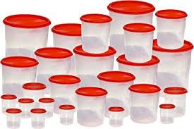 buy princeware 25 pcs kitchen storage container set dark red