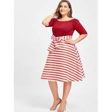 5xl stripe plus size knee length dress