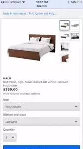 1 full double malm bed and haugesund mattress ikea for sale in