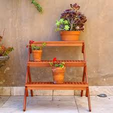 Wooden Patio Plant Stands by 3 Tier Outdoor Plant Stand Simple Outdoor Com