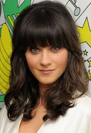 framed face hairstyles with bangs zooey deschanel long hairstyle face framing waves pretty designs