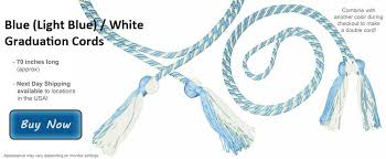 light blue and white graduation cords at honors graduation