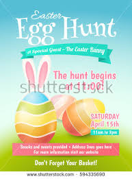 Easter Egg Decorating Poster by Vector Cute Poster Easter Egg Hunt Stock Vector 601146434