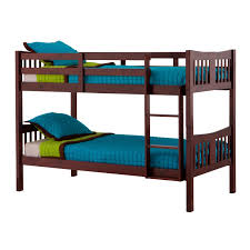 contemporary twin over twin size bunkbed in cherry finish