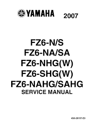 yamaha fz6 2007 all versions service manual anti lock braking