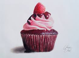 drawn cake colorful cupcake pencil and in color drawn cake