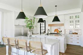 White Kitchen Pendant Lighting All White Eat In Kitchen With Black Cone Pendant Lights 2015