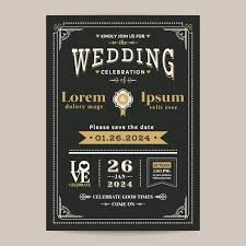 and black wedding invitations vintage black wedding invitation vector free