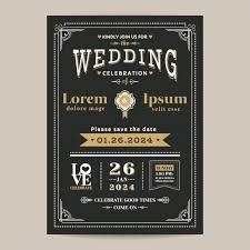 and black wedding invitations vintage black wedding invitation vector free