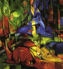 deer in the forest 1914 by franz marc