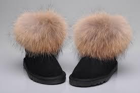 womens ugg boots fox fur style ugg 5854 fox fur boots mini boots black