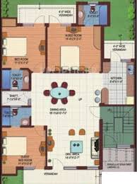1640 sq ft 3 bhk floor plan image m2k the white house available