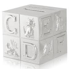 engraved piggy bank silver abc and animal baby block coin bank engraved silver