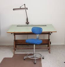vintage drafting table with lamp and chair ebth