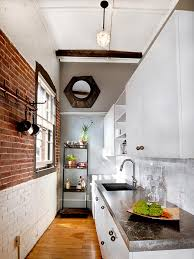 modern small and narrow kitchen design with black cabinet white
