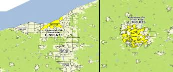 Map Columbus Ohio by Cleveland And Columbus Ohio Urban Areas Vs Cities Proper Oc