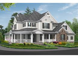 Farmhouse With Wrap Around Porch Plans House Plan 071d 0196 Plan Front Colonial And House