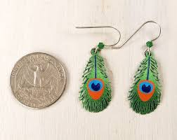peacock feather earrings sky earrings peacock feather talich