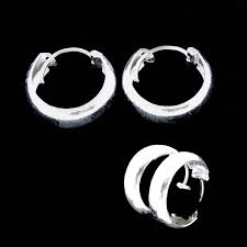 silver sleeper earrings rounded edge thick sleeper earring silver surfers