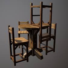 Bar Table And Chairs Rustic Pub Table And Chair 3d Model Cgtrader
