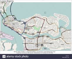 lagos city map lagos island nigeria area city map aerial view stock vector