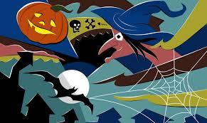 flying witch halloween flying witch full moon bat pumpkin hallowmas halloween walldevil